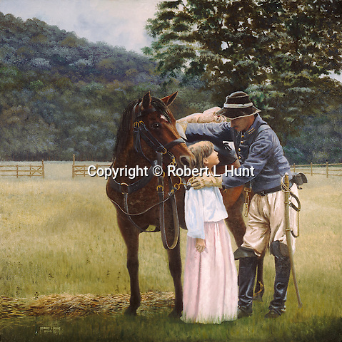 "A Confederate Civil War cavalry trooper says goodbye to his young daughter while vowing to return, 1st Virginia Cavalry. Oil on canvas, 30' x 30""."