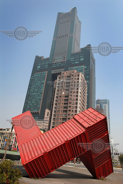 "An example of ""Container Art"" in foreground and the high-rise Splendour Hotel rising behind in Koahsiung."