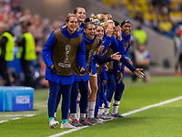 LE HAVRE,  - JUNE 20: The bench celebrates a goal during a game between Sweden and USWNT at Stade Oceane on June 20, 2019 in Le Havre, France.