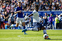 Serge Aurier scores during the Premier League match between Leicester City and Tottenham Hotspur at the King Power Stadium, Leicester, England on 21 September 2019. Photo by James  Gill / PRiME Media Images.