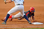 7 July 2008: Batavia Muckdogs' outfielder Edwin Gomez dives afely back to first during a game against the Vermont Lake Monsters at Centennial Field in Burlington, Vermont. The Lake Monsters defeated the Muckdogs 3-2 in the final game of their 3-game series...Mandatory Photo Credit: Ed Wolfstein Photo