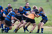 Cameron Dawson tries to break through the swarming Onewhero defenders. Counties Manukau Premier Counties Power Club Rugby Round 2, Game of the Week, between Te Kauwhata and Onewhero, played at Te Kauwhata on Saturday March 17th 2018. <br /> Photo by Richard Spranger.<br /> <br /> Onewhero won the game 43 - 10 after leading 21 - 10 at halftime.<br /> Te Kauwhata EnviroWaste  10 - Lani Latu try,  Caleb Brown 1 conversion, Caleb Brown 1 penalty.<br /> Onewhero 43 - Jackson Orr 2, Ilaisa Koaneti 2, Vaughan Holdt, Zac Wootten, Rhain Strang tries, Vaughan Holdt 4 conversions.