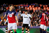 5th November 2019; Mestalla, Valencia, Spain; UEFA Champions League Football,Valencia versus Lille; Maxi Gomez of Valencia CF reacts to a decision going against him - Editorial Use