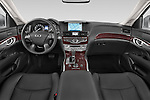 Stock photo of straight dashboard view of a 2015 Infiniti Q70 3.7 L 4 Door Sedan Dashboard