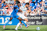 Theo Bernard Francois Hernandez Pi of Real Madrid (R) fights for the ball with Dakonam Ortega Djene of Getafe CF (L)  during the La Liga 2017-18 match between Getafe CF and Real Madrid at Coliseum Alfonso Perez on 14 October 2017 in Getafe, Spain. Photo by Diego Gonzalez / Power Sport Images