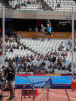 Renaud LAVILLENIE of France punches the air after clearing the bar during The Sainsburys Anniversary Games at the Olympic Park, London, England on 25 July 2015. Photo by Andy Rowland.