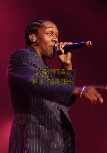 LEMAR .The Girlguiding Big Gig At Wembley Arena, London.11th October 2003 .stage, concert, live, music, singing, half length, half-length, pinstripe.www.capitalpictures.com.sales@capitalpictures.com.Supplied By Capital PIctures