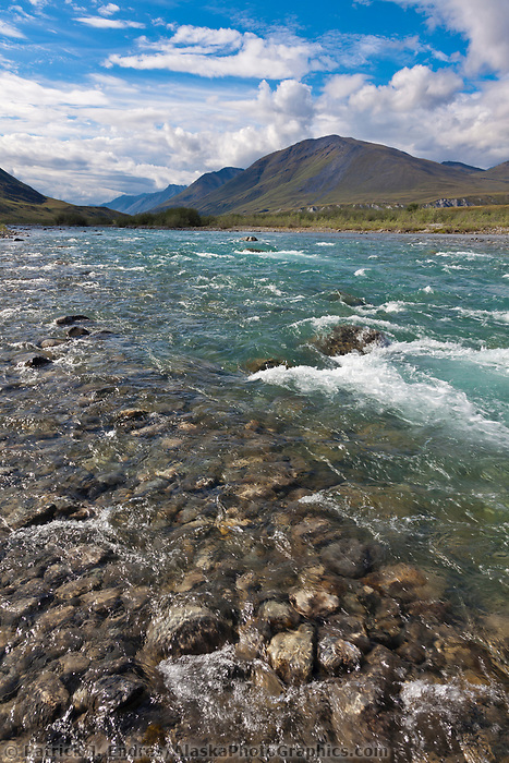 Beautiful clear water of the Marsh Fork of the Canning River in the Arctic National Wildlife Refuge, Brooks Range mountains, Alaska.