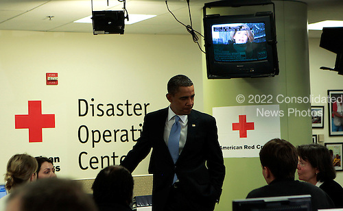 United States President Barack Obama  visits operations for earthquake victims in Haiti at the Red Cross Disaster Operations Center in Washington, Monday, January 18, 2010..Credit: Aude Guerrucci / Pool via CNP