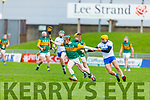 Kerry's Sean Weir gets the jersey stretched by  Waterford's Shane Ryan as he clears another Waterford attack in the Munster Senior Hurling League in Austin Stack Park on Sunday