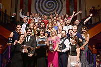 Members of the Tullamore Musical Society in Offaly pictured at the Association of Irish Musical Societies annual awards in the INEC, KIllarney at the weekend. Included are, Georgie O'Toole, Tullamore Musical Society,, County Offaly  winner of the Best Chorus', Eoghan Fingleton, Best Actor in a Supporting Role and Nuala Kelly.<br /> Photo: Don MacMonagle -macmonagle.com<br /> <br /> <br /> <br /> repro free photo from AIMS<br /> Further Information:<br /> Kate Furlong AIMS PRO kate.furlong84@gmail.com
