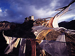 Leh Monastery with prayer flags in foreground