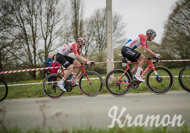 Tim Wellens (BEL/Lotto-Soudal) riding Mathieu Van Der Poel's (NED/Correndon-Circus) wheel in the race finale<br /> <br /> 59th De Brabantse Pijl - La Flèche Brabançonne 2019 (1.HC)<br /> One day race from Leuven to Overijse (BEL/196km)<br /> <br /> ©kramon
