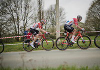 Tim Wellens (BEL/Lotto-Soudal) riding Mathieu Van Der Poel's (NED/Correndon-Circus) wheel in the race finale<br /> <br /> 59th De Brabantse Pijl - La Flèche Brabançonne 2019 (1.HC)<br /> One day race from Leuven to Overijse (BEL/196km)<br /> <br /> ©kramon