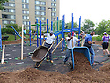 Community members, staff, and volunteers gathered together with CPDC and KaBoom to build a brand new playground at Edgewood.