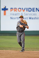 Bret Boswell (13) of the Boise Hawks throws to first base during a game against the Everett AquaSox at Everett Memorial Stadium on July 20, 2017 in Everett, Washington. Everett defeated Boise, 13-11. (Larry Goren/Four Seam Images)