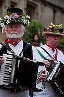 Two accordion players accompany the Morris dancers on May Morning, Oxford.