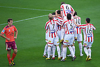 MELBOURNE, AUSTRALIA - NOVEMBER 14: Heart players celebrate a goal by Gerald Sibon during the round 14 A-League match between the Melbourne Heart and Brisbane Roar at AAMI Park on November 14, 2010 in Melbourne, Australia (Photo by Sydney Low / Asterisk Images)