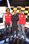 F1 drivers Pedro Martinez de la Rosa (L) and Marc Gene (R) and TV presenter Antonio Lobato during the F1 World Championship 2014-15 season in A3 TV channel in A3media building in Madrid, Spain. March 6, 2014. (ALTERPHOTOS/Victor Blanco)