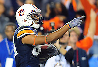 Jan 10, 2011; Glendale, AZ, USA; Auburn Tigers wide receiver Emory Blake (80) celebrates after scoring a touchdown during the first half of the 2011 BCS National Championship game against the Oregon Ducks at University of Phoenix Stadium.  Mandatory Credit: Mark J. Rebilas-
