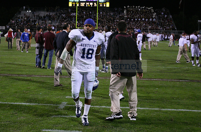 UK junior wide receiver, Randall Cobb, walks off the field following the 24-17 loss to Mississippi State in Starkville, MS on October 30, 2010. Photo by Ryan Buckler | Staff