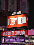 "Theatre Matrquee for Brian Tyree Henry, Bel Powley, Michael Cera and Chris Evans during their first performance of ""Lobby Hero"", marking Evans' Broadway debut and the inaugural performance at Second Stage's Hayes Theater on March 1, 2018 at The Hayes Theatre in New York City."