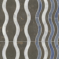 Ava, a stone water jet mosaic, shown in Carrara, Blue Macauba, and Montevideo, is part of the Ann Sacks Beau Monde collection sold exclusively at www.annsacks.com
