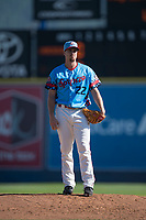 Spokane Indians starting pitcher Chi Chi Gonzalez (22) in a rehab assignment during a Northwest League game against the Vancouver Canadians at Avista Stadium on September 2, 2018 in Spokane, Washington. The Spokane Indians defeated the Vancouver Canadians by a score of 3-1. (Zachary Lucy/Four Seam Images)