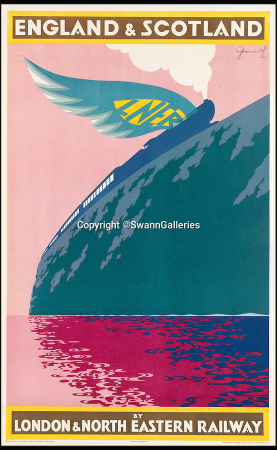 BNPS.co.uk (01202 558833)<br /> Pic: SwannGalleries/BNPS<br /> <br /> Art Deco vision of the train journey to the highlands.<br /> <br /> Travel posters opening a window into British seaside holidays of the past have emerged at auction. <br /> <br /> The selection of images, which were displayed at railway stations in the early 20th century, are among 200 being sold in the USA next month and expected to fetch hundreds of thousands of pounds. <br /> <br /> They feature paintings from prominent artists of the time and show a sharp contrast to the styles of today. <br /> <br /> The posters are being auctioned by Swann Galleries in New York on October 27.
