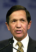 United States Representative Dennis Kucinich (Democrat of Ohio), a candidate for the 2004 Democratic Presidential nomination, speaks at the Service Employees International Union 2003 Political Action Conference in Washington, DC on September 8, 2003.<br /> Credit: Ron Sachs / CNP<br /> (RESTRICTION: NO New York or New Jersey Newspapers or newspapers within a 75 mile radius of New York City)