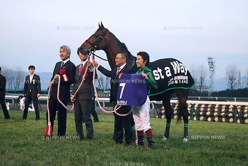 Just a Way (Yuichi Fukunaga),  Akatsuki Yamatoya,  Naosuke Sugai,<br /> JANUARY 4, 2015 - Horse Racing :<br /> Owner Akatsuki Yamatoya (L), trainer Naosuke Sugai (2nd R) and jockey Yuichi Fukunaga pose with Just a Way during his retirement ceremony at Kyoto Racecourse in Kyoto, Japan. (Photo by Eiichi Yamane/AFLO)