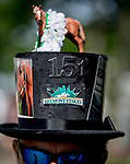 June 8, 2019 : A man wears a decorated Belmont 151 hat on Belmont Stakes Festival Saturday at Belmont Park in Elmont, New York. Scott Serio/Eclipse Sportswire/CSM