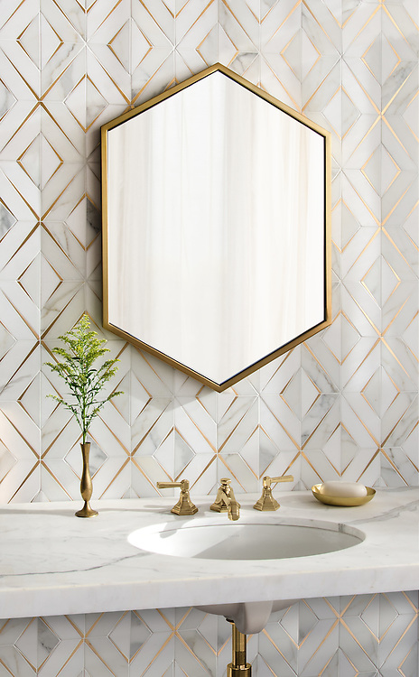 Simone, a waterjet stone mosaic, shown in honed Calacatta Gold, honed Thassos, and brushed Brass, is part of the Trove™ collection for New Ravenna and available through the Studio Line of Ready to Ship mosaics.<br /> *Not recommended for floor installations.