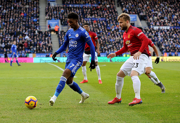 Leicester City's Demarai Gray battles with  Manchester United's Luke Shaw<br /> <br /> Photographer Hannah Fountain/CameraSport<br /> <br /> The Premier League - Leicester City v Manchester United - Sunday 3rd February 2019 - King Power Stadium - Leicester<br /> <br /> World Copyright © 2019 CameraSport. All rights reserved. 43 Linden Ave. Countesthorpe. Leicester. England. LE8 5PG - Tel: +44 (0) 116 277 4147 - admin@camerasport.com - www.camerasport.com