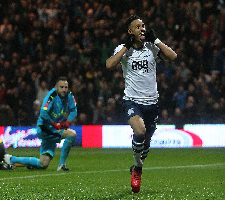 Preston North End's Callum Robinson celebrates scoring his sides first goal <br /> <br /> Photographer Mick Walker/CameraSport<br /> <br /> Emirates FA Cup Third Round - Preston North End v Arsenal - Saturday 7th January 2017 - Deepdale - Preston<br />  <br /> World Copyright &copy; 2017 CameraSport. All rights reserved. 43 Linden Ave. Countesthorpe. Leicester. England. LE8 5PG - Tel: +44 (0) 116 277 4147 - admin@camerasport.com - www.camerasport.com