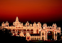 A06501 Licensed.Maharajah s Palace illuminated at night Mysore India.
