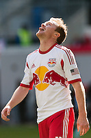 Dax McCarty (11) of the New York Red Bulls reacts to missing a scoring opportunity. The New York Red Bulls defeated the Philadelphia Union 2-1 during a Major League Soccer (MLS) match at Red Bull Arena in Harrison, NJ, on March 30, 2013.