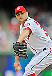 12 April 2012: Washington Nationals pitcher Craig Stammen in action against the Cincinnati Reds at Nationals Park in Washington, DC. The Nationals defeated the Reds 3-2 in 10 innings to take the first game of their 4-game series. Mandatory Credit: Ed Wolfstein Photo