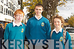 Tommy Kearney, Kevin Shanahan and Matt Finerty from Mercy Mounthawk , Tralee, at the Young Entrepreneur 2011 Blue Sky Day.
