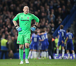 Middlesbrough's Brad Guzan looks on dejected after Chelsea's third goal during the Premier League match at Stamford Bridge Stadium, London. Picture date: May 8th, 2017. Pic credit should read: David Klein/Sportimage