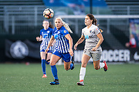 Boston, MA - Sunday May 07, 2017: Adriana Leon and Sam Witteman during a regular season National Women's Soccer League (NWSL) match between the Boston Breakers and the North Carolina Courage at Jordan Field.