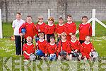 Glenderry National School. front l-r Stewart Daly, Padraig Kenny, Emma Pierse, Rory Campbell, Dylan Godley, Patrick O'Connor, back l-r  Cillian Burke, Peter Hanlon, Fionan Duggan, Donnacha Horgan, Gearoid McCarthy, Bobby Breen, Josh O'Sullivan at the North Kerry Primary schools Hurling Blitz at Ballyheigue on Thursday