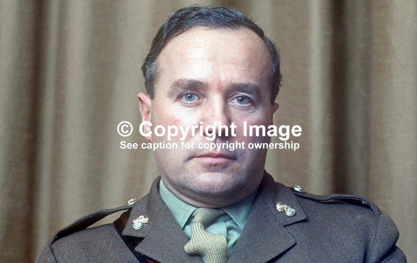 Major G J Entwistle, training officer, Co Down, N Ireland, UDR, Ulster Defence Regiment, British Army, February 1970, 197002000040<br /> <br /> Copyright Image from Victor Patterson, 54 Dorchester Park, Belfast, UK, BT9 6RJ<br /> <br /> t: +44 28 90661296<br /> m: +44 7802 353836<br /> vm: +44 20 88167153<br /> e1: victorpatterson@me.com<br /> e2: victorpatterson@gmail.com<br /> <br /> For my Terms and Conditions of Use go to www.victorpatterson.com