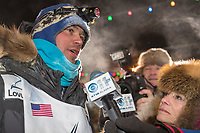 Joar Leifseth Ulsom talks with reporters at the finish line in Nome, Alaska early on Wednesday morning March 14th as he wins the 46th running of the 2018 Iditarod Sled Dog Race.  He finished in 9 days 12 hours 00 minutes and 00 seconds<br /> <br /> Photo by Jeff Schultz/SchultzPhoto.com  (C) 2018  ALL RIGHTS RESERVED