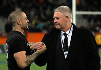 TJ Perenara celebrates with NZ Rugby chief executive Steve Tew after the Rugby Championship and Bledisloe Cup rugby match between the New Zealand All Blacks and Australia Wallabies at Forsyth Barr Stadium in Dunedin, New Zealand on Saturday, 26 August 2017. Photo: Dave Lintott / lintottphoto.co.nz
