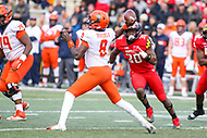 College Park, MD - October 27, 2018: Illinois Fighting Illini quarterback M.J. Rivers II (8) throws a pass during the game between Illinois and Maryland at  Capital One Field at Maryland Stadium in College Park, MD.  (Photo by Elliott Brown/Media Images International)