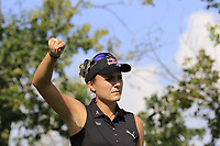 Lexi Thompson (USA) checks the wind direction on the 5th tee during Thursday's Round 1 of The Evian Championship 2018, held at the Evian Resort Golf Club, Evian-les-Bains, France. 13th September 2018.<br /> Picture: Eoin Clarke | Golffile<br /> <br /> <br /> All photos usage must carry mandatory copyright credit (© Golffile | Eoin Clarke)