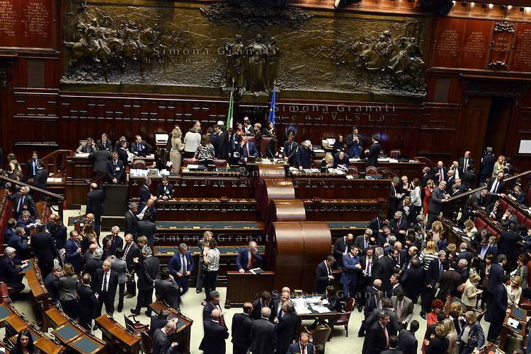 Roma, 18 Aprile 2013.Camera dei Deputati.Votazione del Presidente della Repubblica a camere riunite.Panoramica.La conta dei voti
