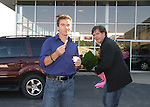 Guiding Light's actors Kurt McKinney & Frank Dicopoulos on October 1, 2009 in Pittsburgh, PA area as the actors visit Moon Township Honda after going to the various GO PINK Panera Bread locations. Proceeds from pink ribbon bagel sales will benefit the Young Women's Breast Cancer Awareness Foundation. (Photo by Sue Coflin/Max Photos)