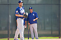 (R-L) Greg Maddux, Clayton Kershaw (Dodgers),<br /> FEBRUARY 29, 2016 - MLB :<br /> Los Angeles Dodgers special advisor Greg Maddux watches pitcher Clayton Kershaw in the bullpen during the Los Angeles Dodgers spring training baseball camp in Glendale, Arizona, United States. (Photo by Thomas Anderson/AFLO) (JAPANESE NEWSPAPER OUT)